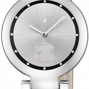 Reloj Tous Crown de acero con correa de piel negra 700350260