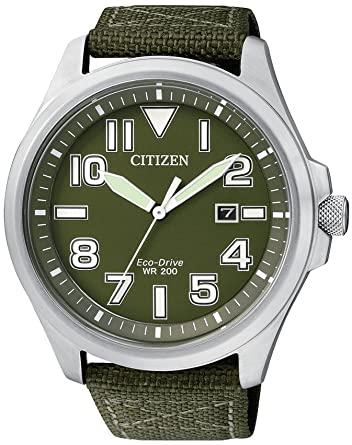 Reloj Citizen Eco Drive Militar Verde Nylon AW1410-32X